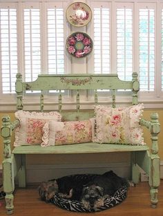 Love this shabby chic bench. Cute dogs too.