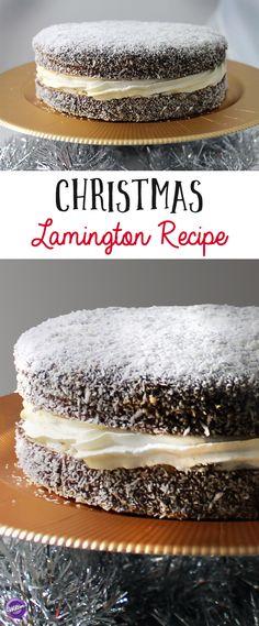 The lamington, a popular Australian dessert, gets a Christmas makeover! Xmas Food, Christmas Desserts, Christmas Baking, Christmas Recipes, Australian Desserts, Australian Food, Australian Recipes, Pavlova, Food Cakes