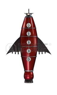 razzo spaziale rosso isolato su sfondo bianco photo