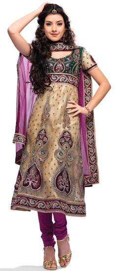 Light Fawn Net #Anarkali Churidar #Kameez With #Dupatta @ $96.15   Shop @ http://www.utsavfashion.com/store/sarees-large.aspx?icode=ksa10