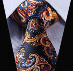 "TF451V8 Orange Navy Blue Floral 3.4"" 100%Silk Wedding Jacquard Woven Men Tie Necktie Pocket Square Handkerchief Set Suit"
