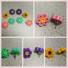 Earrings sets perler beads by biffed