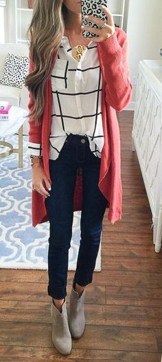 #thanksgiving #outfits Pink Cardigan // Striped Shirt // Black Jeans // Grey Booties