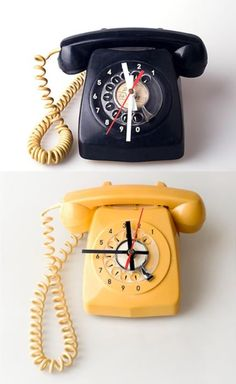 Rotary phone upcycled into clock!!  Great idea!