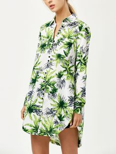 Coconut Palm Print Shirt with Pockets in Floral | Sammydress.com
