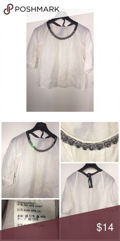 Jeweled Collar Top Like•New Jeweled Collar Top • Size Small • Top is NOT Zara, using for exposure only • Attached jeweled collar • Ties at the neck • Excellent used condition Zara Tops