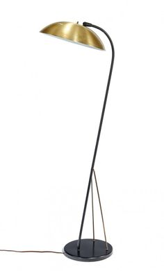 Kurt Versen; Anodized Aluminum and Enameled Metal Floor Lamp for Nessen, c1950.