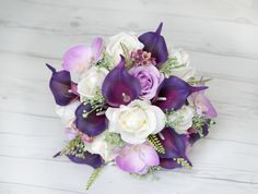 Purple Bouquet, Lilac Bouquet, Calla Bouquet, Garden Bouquet, Purple Lilac Bouquet, Lilac Bridal Bouquet, Silk Bouquet, Silk Wedding Bouquet