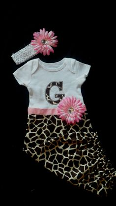 Baby Girl Monogram Layette Gown Giraffe Print Gown and Headband Gift Set Baby Girl Clothes Take Home Outfit