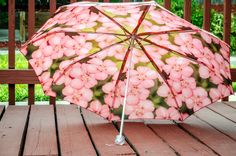 "Pink Custom Designed Umbrella featuring floral photography prints41"" spanMANUAL Lightweight UmbrellaFlower PrintFlower PhotographyRain Waterproof Rain unique gifts manual umbrella Time is Precious Umbrella rain accessories rain gear accessories waterproof fabric umbrellas rainy day customized umbrella 35.00 USD #goriani"
