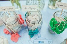 custom made tea bags in jam jars - lovely for a party or wedding