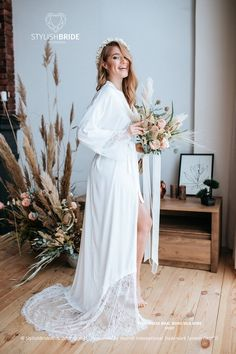 Gorgeous bridal silk robe with a wide amazing French lace train. Robe made  of Italian fd88d0d5f