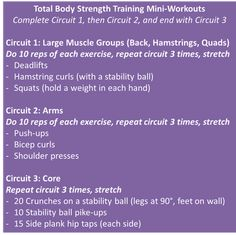 Total Body Strength Training Mini-Workouts; 3 circuits that target the large muscle groups (back/hamstrings/quads), then arms, then core.