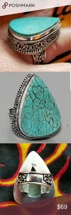 """TURQUOISE RING """"ANTIQUE STYLE DESIGN"""" Turquoise Ring """"Stamped 925"""" Sterling Silver Antique Style Design (Size 6.5) Jewelry Rings"""