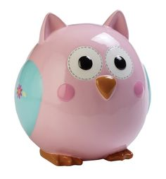 This rosie-cheeked, plump-looking owl would make a great addition to any baby girl's nursery decor! Featuring a pink body with blue wings, flower accents and big eyes, this ceramic bank puts a modern twist on nature. Part of the Happi Baby Girl Colle Baby Shower Gift Basket, Baby Shower Gifts, Baby Gifts, Owl Always Love You, Cute Piggies, Pink Owl, Pink Blue, This Little Piggy, Ceramic Birds