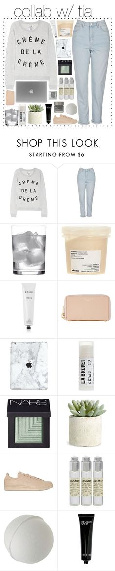 """""""creme de la creme / collab w/ tia"""" by omgjailah ❤ liked on Polyvore featuring Zoe Karssen, Topshop, Deborah Ehrlich, Davines, Rodin, Sophie Hulme, Toast, NARS Cosmetics, Allstate Floral and adidas"""