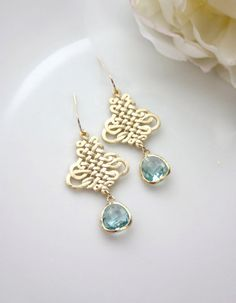 ♥´¨) ¸.•´ ¸.•*´¨) (¸.•´ ♥ ~ Gorgeous matte gold filigree drops with unique design pattern. Dangling beneath are aquamarine blue glass drops and are