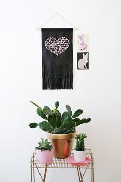 Leather Fringe Heart Tapestry - A BEAUTIFUL MESS #cacti #pink #white #wire #copper #gold