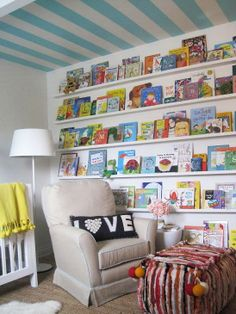 A great way to organize & display books in a child's room via Elizabeth Sullivan Design