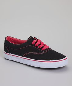 Look at this Ositos Shoes Black & Fuchsia Short Lace Sneaker on #zulily today!
