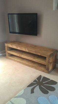 Chunky solid wood tv unit handmade. CAVEMAN by CAVEMANFURNITURE