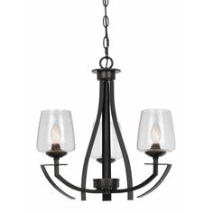 CAL Lighting 3-Light Hardwire Ceiling Mount Organic Black Chandelier