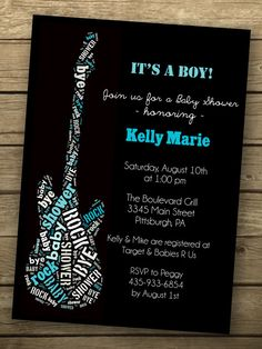 Rock a Bye Baby Shower invitation  - $12 (like the word-filled guitar)