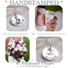Bridal bouquet charms in sterling silver capturing those precious details of the day your life changes forever...  www.minkiemoodesigns.co.uk