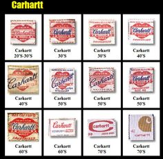 Vintage Carhartt clothing labels.