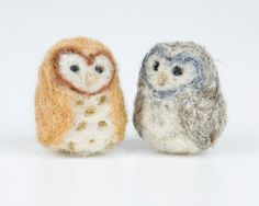 Miniature Needle Felted Pocket Barn Owl in Tan and by alishaharms