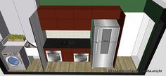 Apto São Paulo | Cozinha 2. Pedras pretas + Móveis Goiaba + Porcelanato Tipo Renda acima da pia + Super Refrigerador Electrolux!