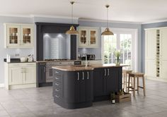 Saltaire Graphite and Ivory Painted Shaker Kitchen : Cabinets & shelves by Sigma 3 Kitchens