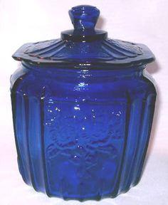 COBALT-BLUE-Depression-Glass-MAYFAIR-Style-Cookie-Jar-