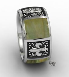 Flor de Lis band with soap stone inlay by Dana Arts    INL-02