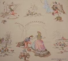 1940's Vintage Wallpaper Cinderella Nursery ♥ by HannahsTreasures