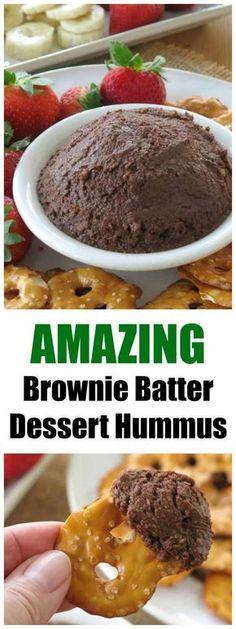Healthy Dessert Hummus that tastes like Brownie Batter! Vegan, gluten-free and lower in carbs recipe! You won't believe it has chickpeas in it! #dinnermom #desserthummus