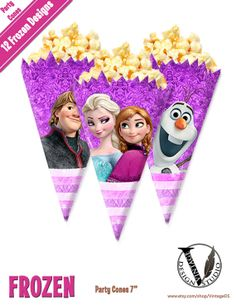 Disney Frozen Birthday Party Cones Images digital от VintageDS, $4.99