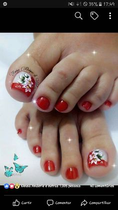 Pedicure Designs, Pedicure Nail Art, Toe Nail Designs, Toe Nail Art, Cute Toe Nails, Cute Toes, Pretty Toes, Painted Toe Nails, Cute Pedicures