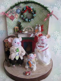 Nostalgie  Weihnachtszimmer mit 3 Mäusen, gefilzt, Filzmaus,Landhaus/Shabby Ooak