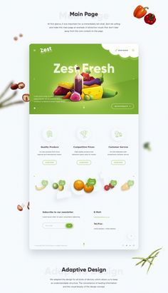 Landing Page Fruits - Landing Page - Ideas of Landing Page - Landing page design branding and van design Website Design Inspiration, Landing Page Inspiration, Design Websites, Nature Design, Adaptive Design, Food Web Design, Design Your Own Website, Best Landing Pages, Restaurant Poster