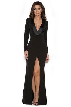 Clothing : Max Dresses : 'Salome' Black Draped Tux Maxi Dress