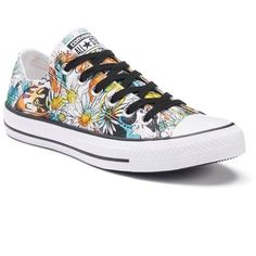 Womens Converse Chuck Taylor All-Star Daisy Print Sneakers ($55) ❤ liked on Polyvore featuring shoes, sneakers, teal floral print, teal shoes, star shoes, lace shoes, laced sneakers and converse trainers