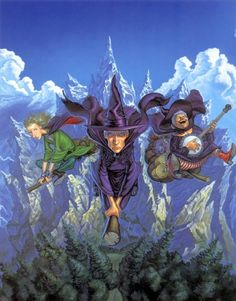 "Terry Pratchett: Grannie Weatherwax, Nannie Ogg and Magrat. ~- ""We've got a lot of experience of not having any experience"" - ""But the point is... the point is... the point is we've not been experienced for a lot longer than you."" Artwork by Paul Kidby from ""Witches abroad"" by Terry Pratchett (1948-2015)"