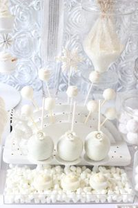all white cake pop stand and candy apples