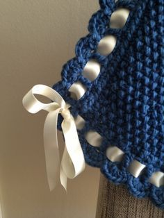 Knitted baby blanket with crochet and ribbon edging <3.  Love the ribbon border. ༺✿ƬⱤღ✿༻