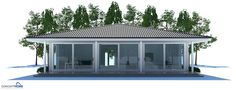 Two Bedroom Small House Plan with open planning, covered terrace, big bathroom, WIC in both bedrooms