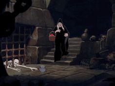 my gif gif film disney vintage kick Halloween animation disney gif cartoons skeleton gifset snow white prison Snow White and the Seven Dwarfs 1930s 1937 Evil Queen snow white gif
