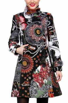 Mi Musa Desigual women's coat from the Galactic line. Galactic shapes and patterns printed on this coat. Our Galactic line stars this season!