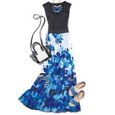Avon's Modern Floral Maxi Dress is a fresh and fabulous maxi with a bold floral skirt and a black V-neck top. Avon Fashion, Fashion Brands, Flower Dresses, Floral Maxi Dress, Avon Clothing, Structured Fashion, Shops, Makeup And Beauty Blog, Trendy Plus Size Fashion