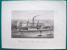 NEW YORK Clark Spool Cotton Factory Building - 1876 Antique Print Engraving #Vintage